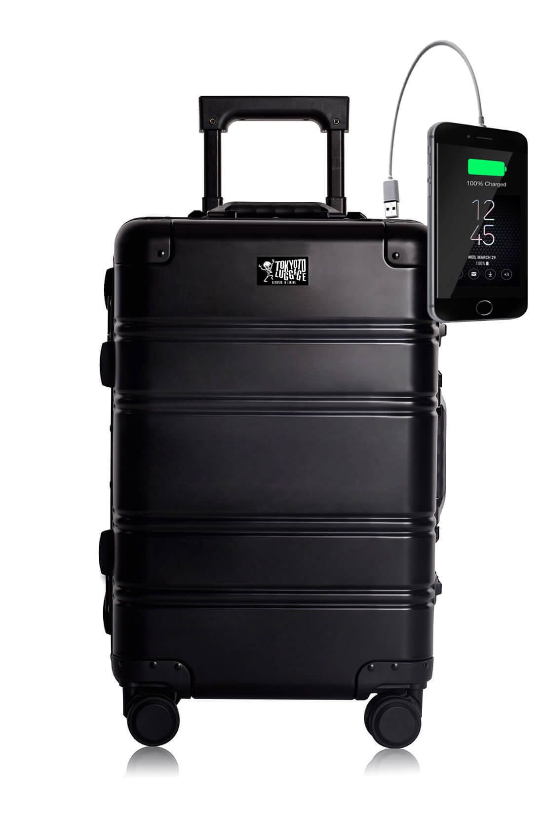 Aluminum Suitcase Trolley Cabin Luggage Black Logo Tokyoto 1