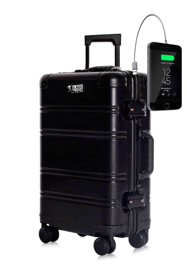 Aluminum Suitcase Trolley Cabin Luggage Black Logo Tokyoto 2