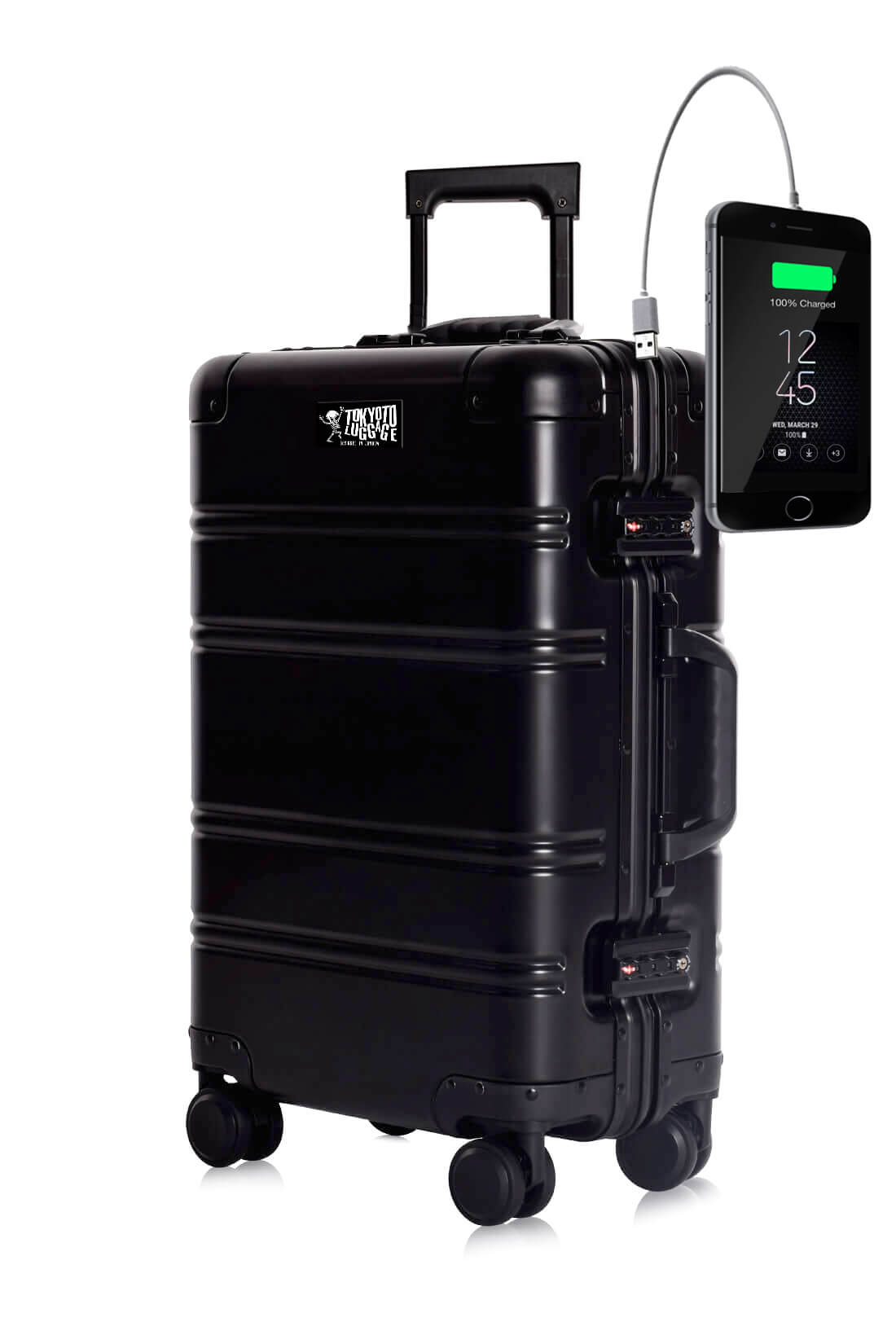 Aluminum Suitcase Trolley Cabin Luggage Black Logo Tokyoto 2