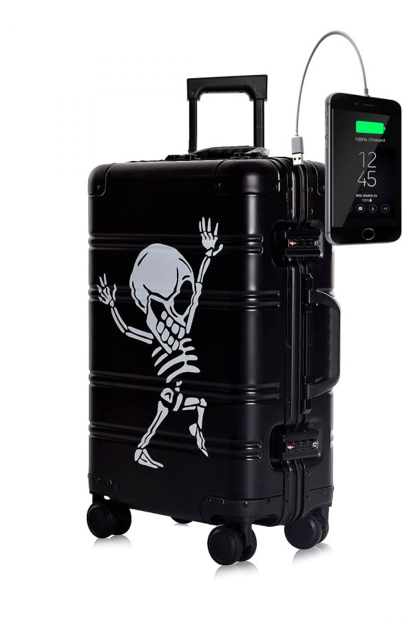 Aluminum Suitcase Trolley Cabin Luggage Black Skull