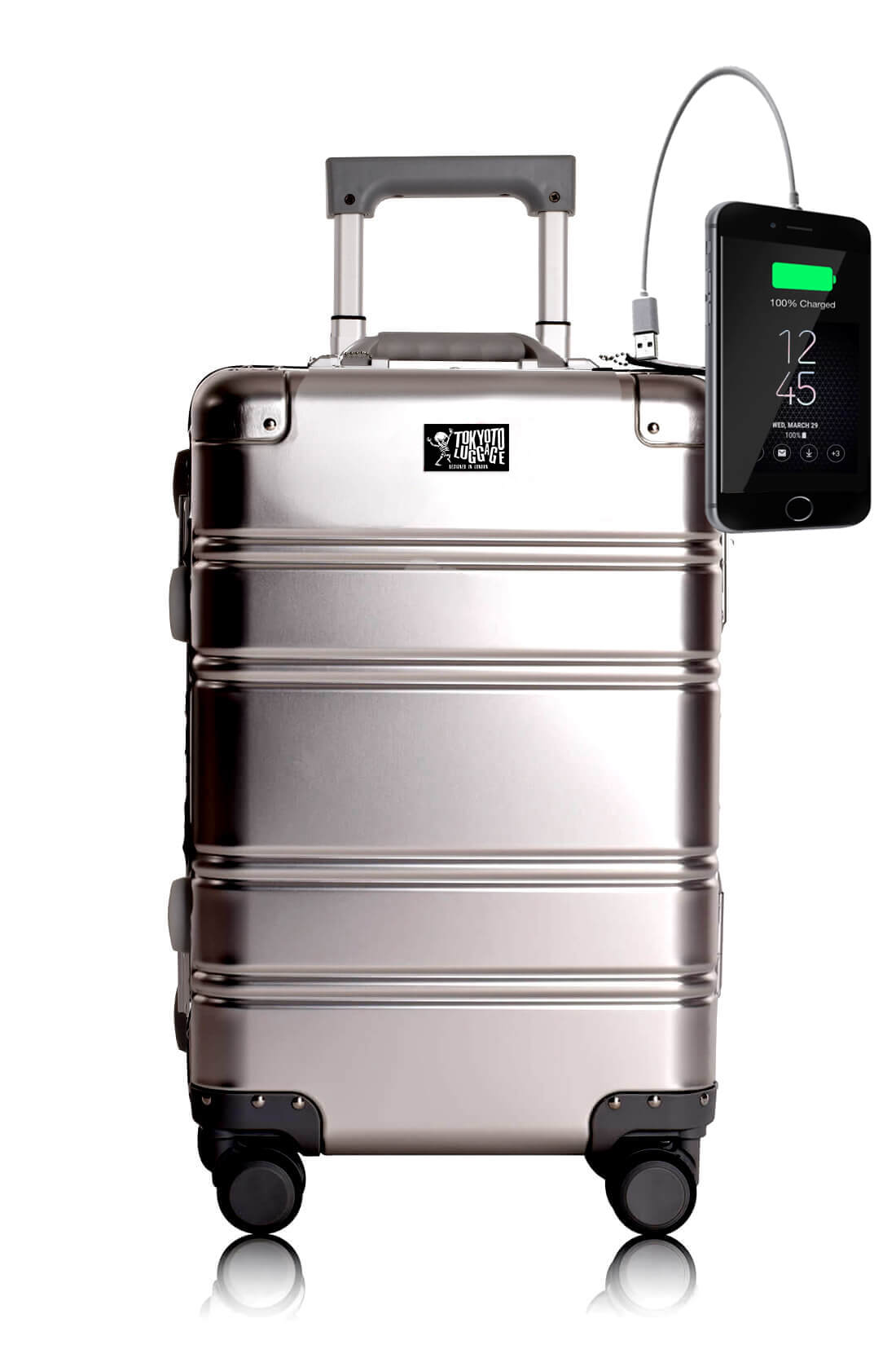 Aluminum Suitcase Trolley Cabin Luggage Silver Logo Tokyoto 5