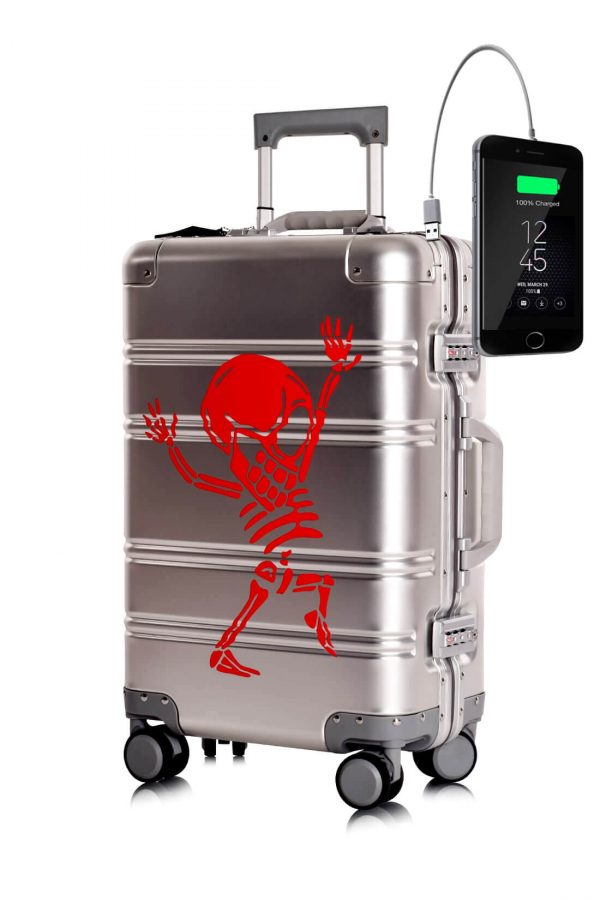 Aluminum Suitcase Trolley Cabin Luggage Silver Skull