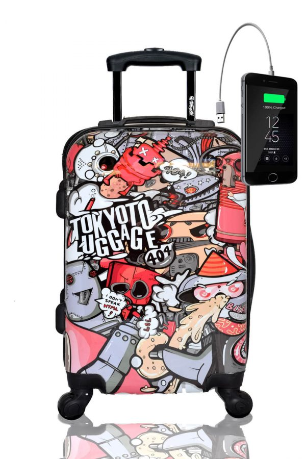Kids Hand Trolley Cabin Luggage Suitcase Online Powerbank USB PARTY ROBOTS