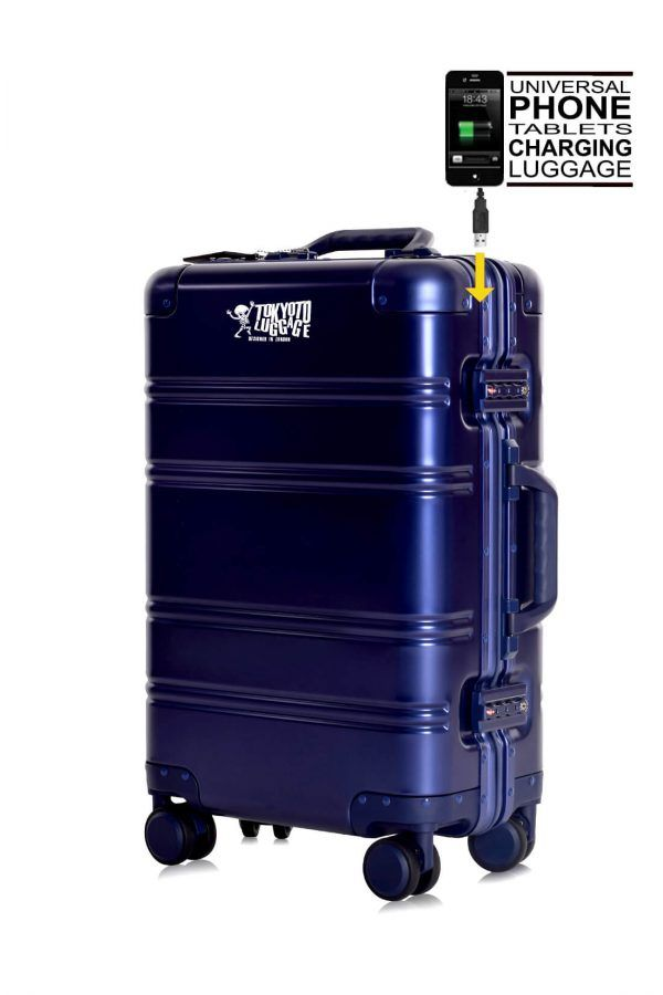 Aluminum Suitcase Trolley Blue Logo 1