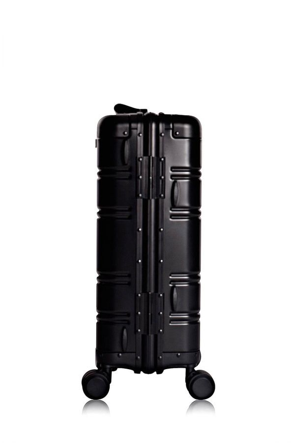 Aluminum Suitcase Trolley Cabin Luggage Black Skull Back
