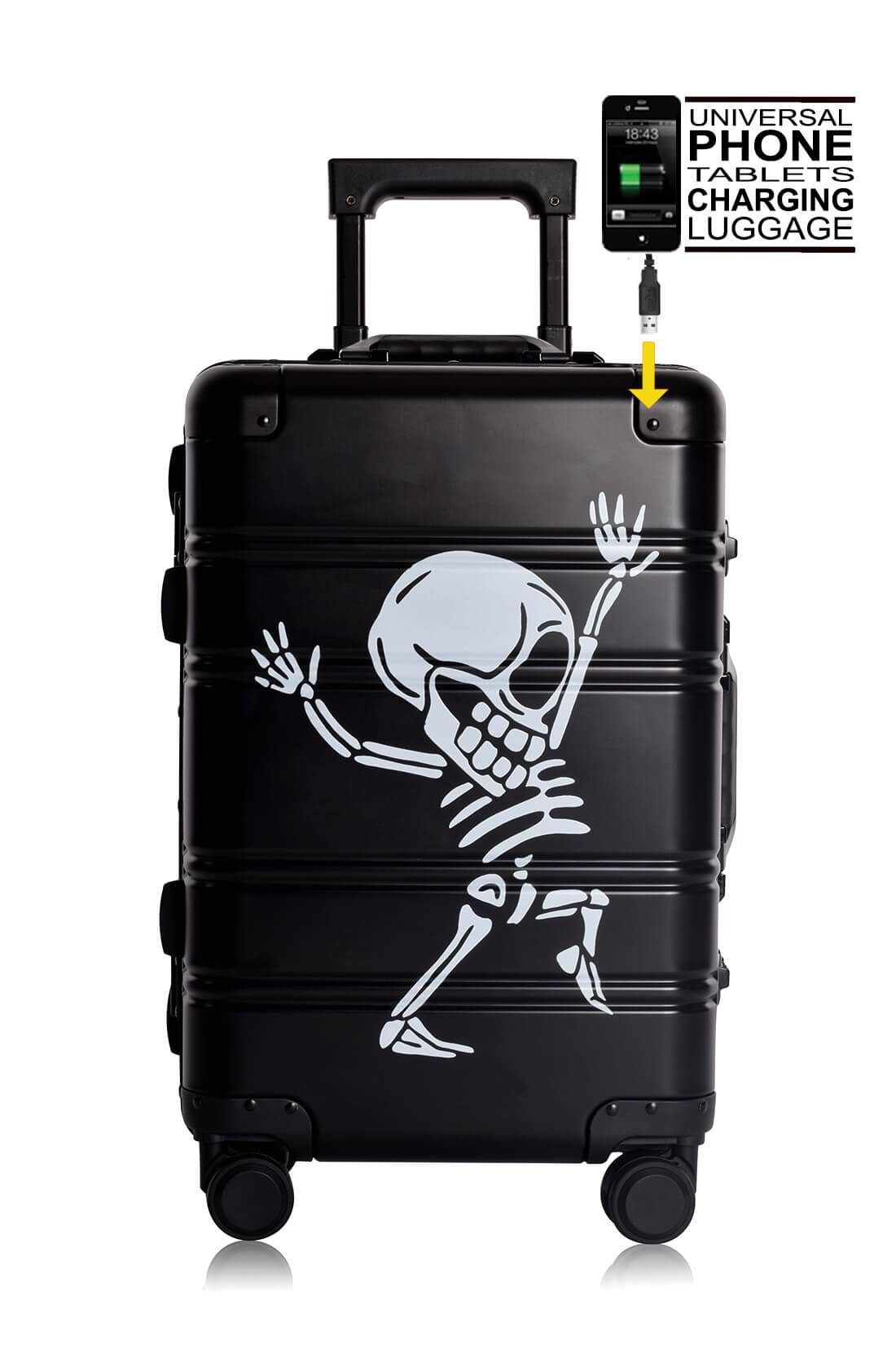 Aluminum Suitcase Trolley Cabin Luggage Black Skull Front Powebank 1