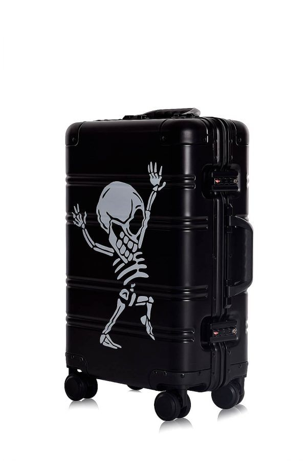 Aluminum Suitcase Trolley Cabin Luggage Black Skull Sid3 4