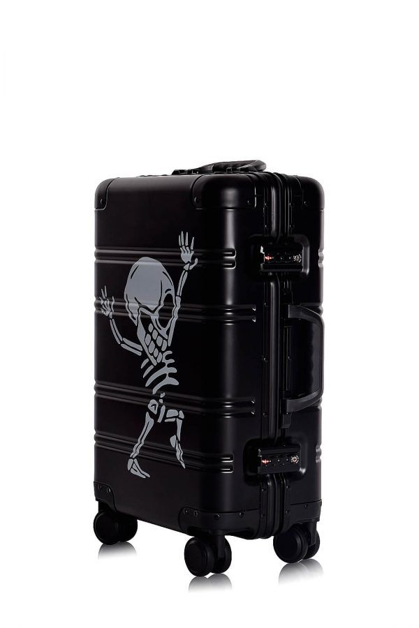 Aluminum Suitcase Trolley Cabin Luggage Black Skull Side 8