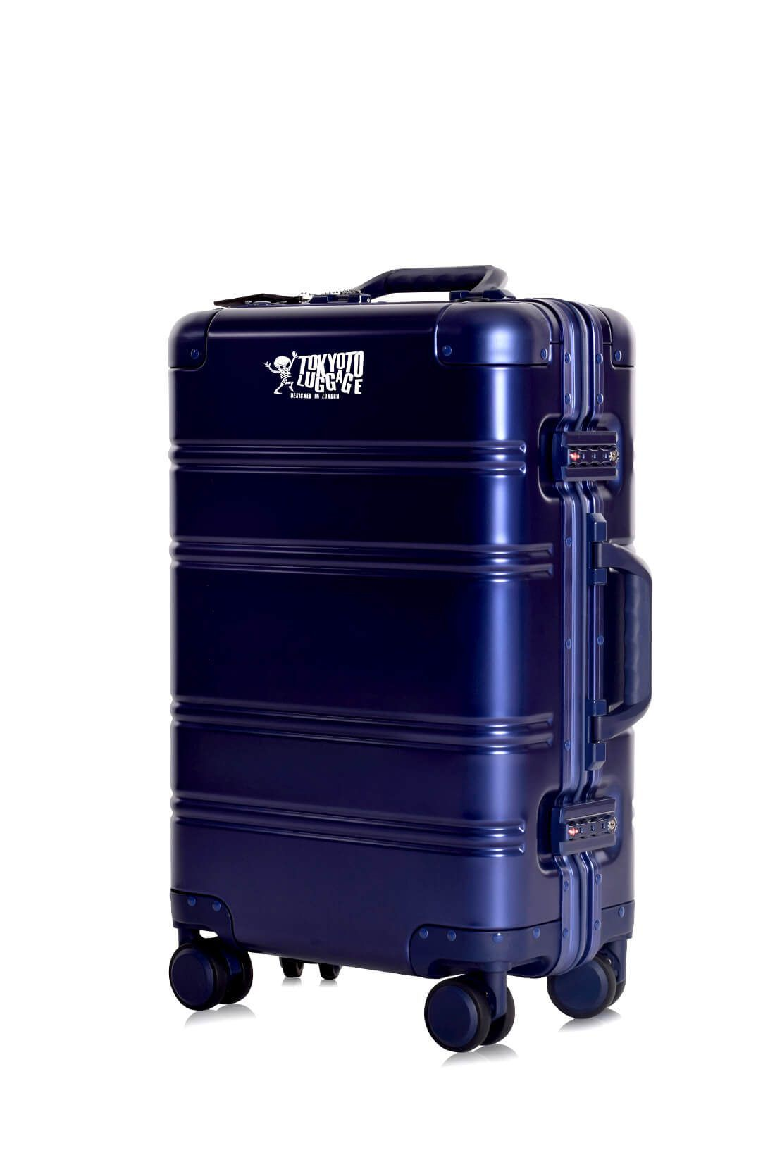 Aluminum Suitcase Trolley Cabin Luggage Blue Logo 1