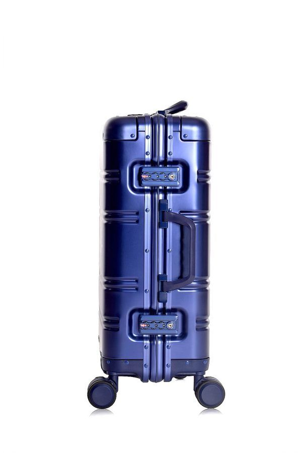 Aluminum Suitcase Trolley Cabin Luggage Blue Logo Side 10