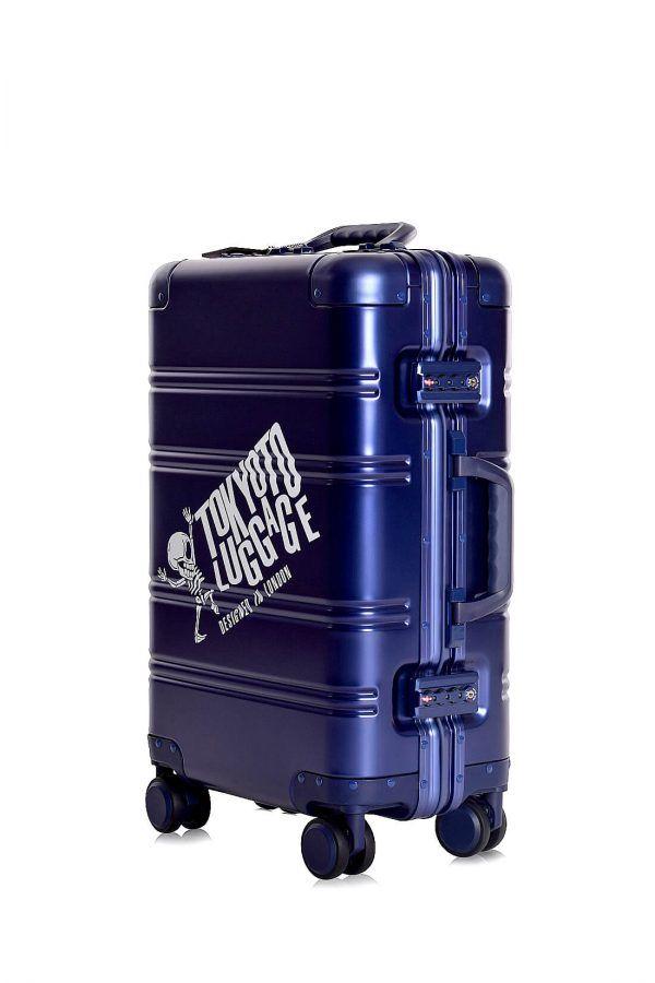Aluminum Suitcase Trolley Cabin Luggage Blue Logo Side 24