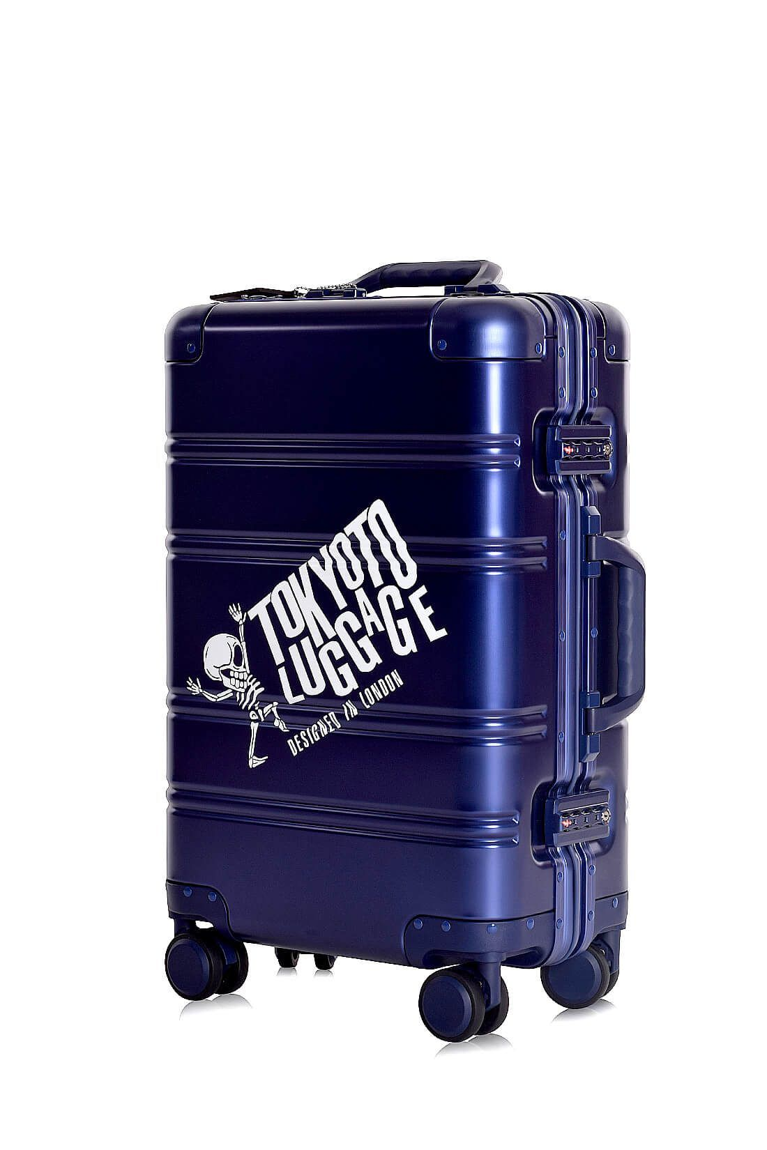 Aluminum Suitcase Trolley Cabin Luggage Blue Logo Side 3