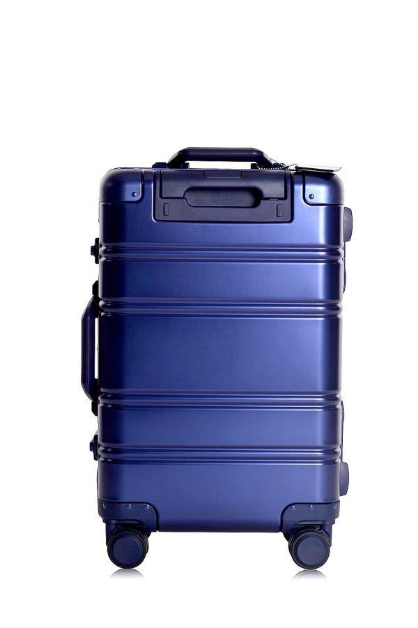 Aluminum Suitcase Trolley Cabin Luggage Blue Logo Side Back