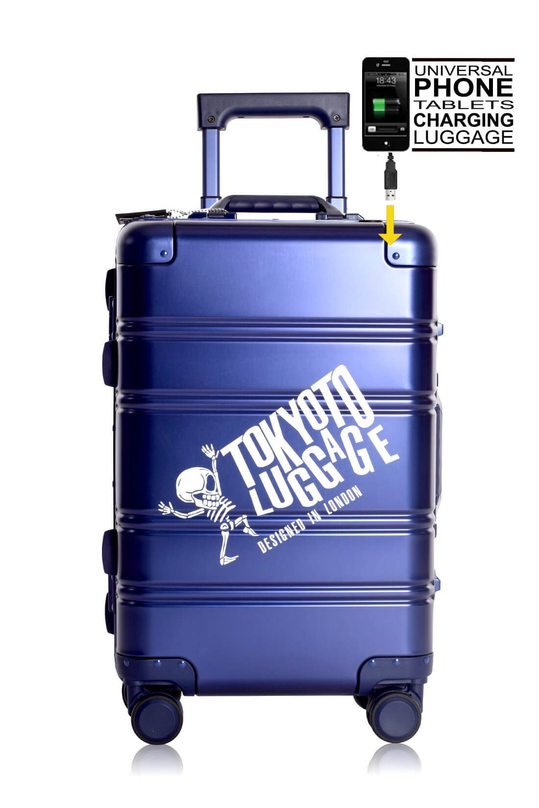 Aluminum Suitcase Trolley Cabin Luggage Blue Logo Side powerbank