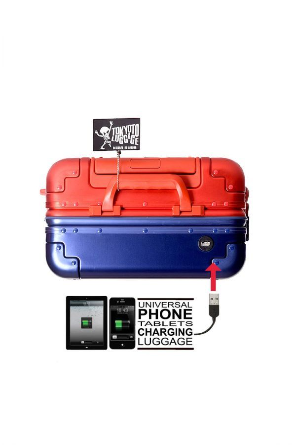 Aluminum Suitcase Trolley Cabin Luggage Blue Red Logo Top