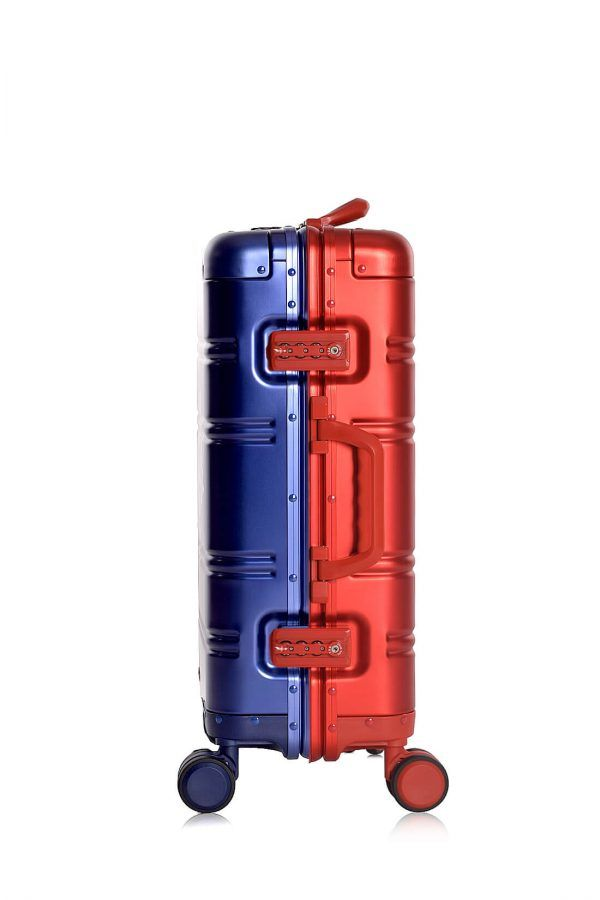 Aluminum Suitcase Trolley Cabin Luggage Blue Side Red Logo 1