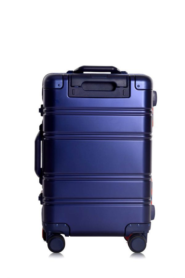 Aluminum Suitcase Trolley Cabin Luggage Red Blue Logo Back