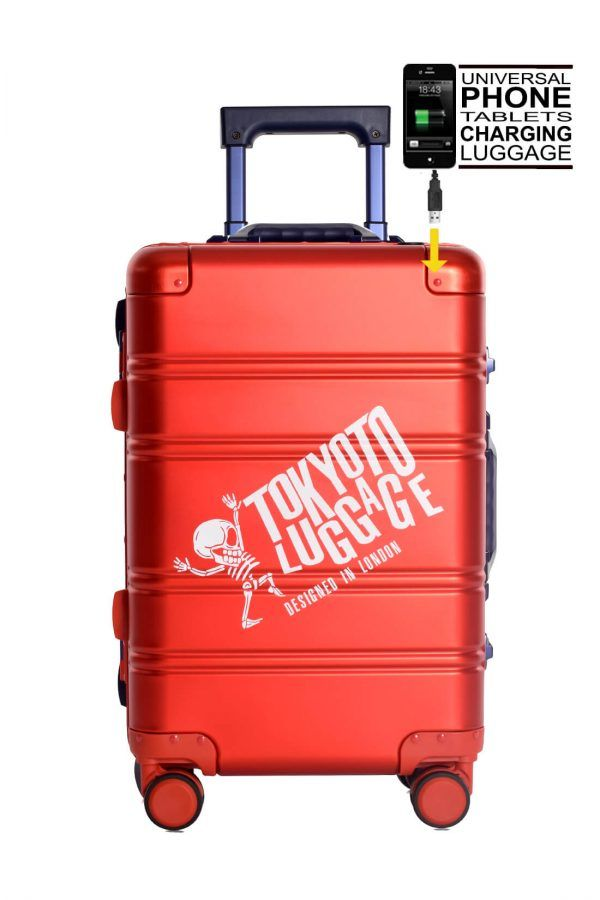 Aluminum Suitcase Trolley Cabin Luggage Red Blue Logo Front 1