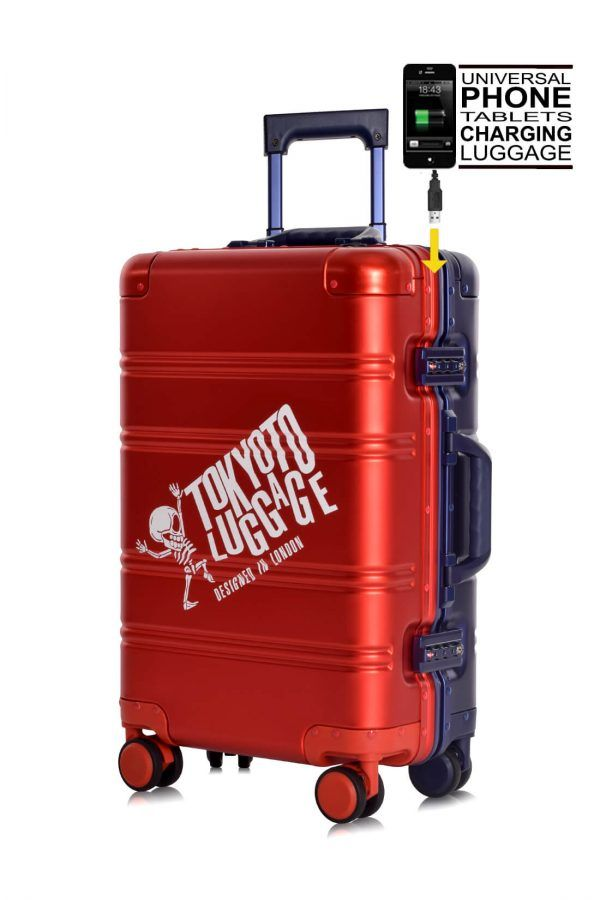 Aluminum Suitcase Trolley Cabin Luggage Red Blue Logo Front 2