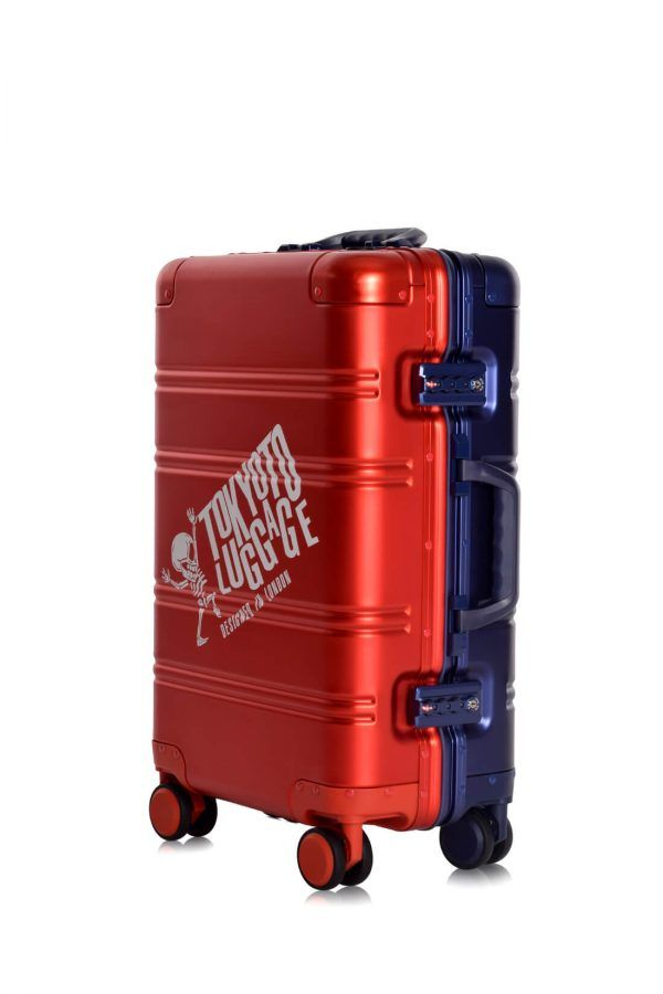 Aluminum Suitcase Trolley Cabin Luggage Red Blue Logo Side 3