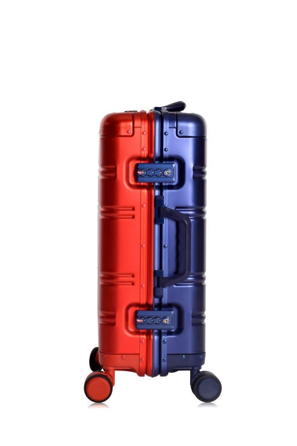 Aluminum Suitcase Trolley Cabin Luggage Red Blue Logo side 2