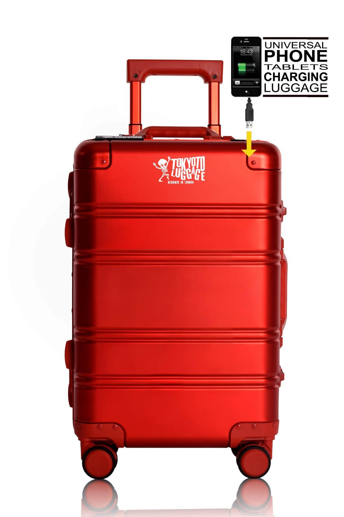 Aluminum Suitcase Trolley Cabin Luggage Red Logo with Powerbank