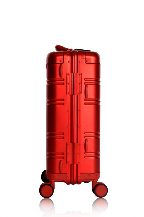 Aluminum Suitcase Trolley Cabin Luggage Red Skull BAck 1