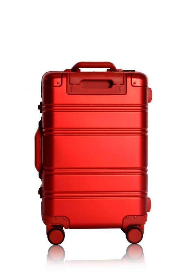 Aluminum Suitcase Trolley Cabin Luggage Red Skull Back