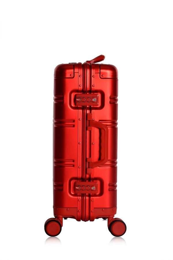 Aluminum Suitcase Trolley Cabin Luggage Red Skull Side 1