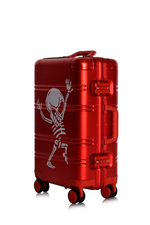 Aluminum Suitcase Trolley Cabin Luggage Red Skull Side 3