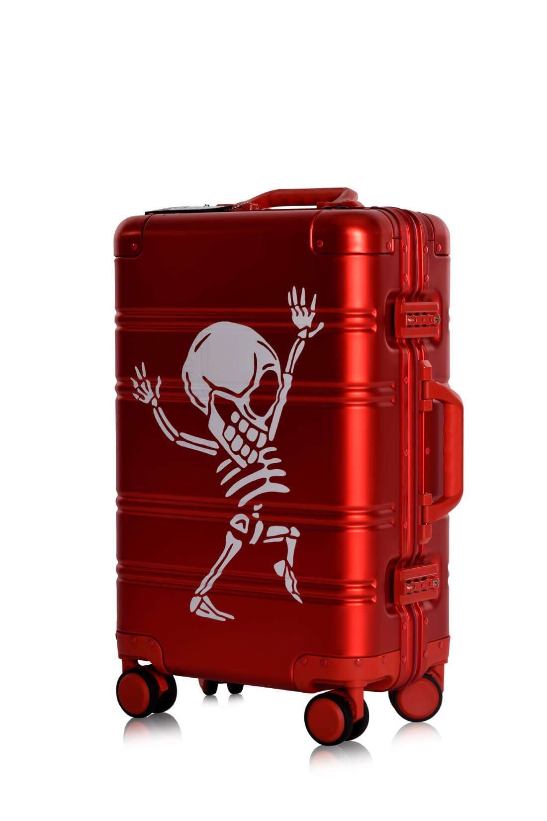 Aluminum Suitcase Trolley Cabin Luggage Red Skull Side 7