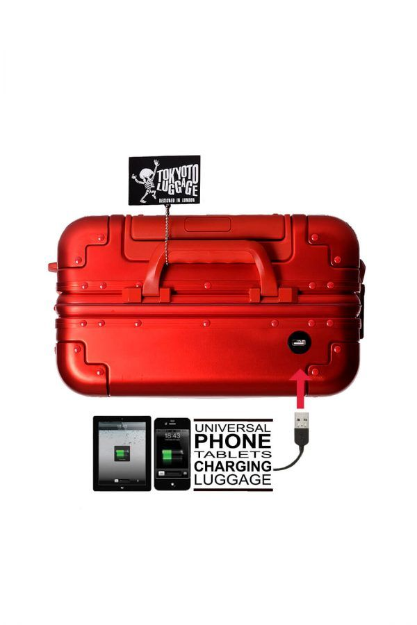 Aluminum Suitcase Trolley Cabin Luggage Red Skull Top