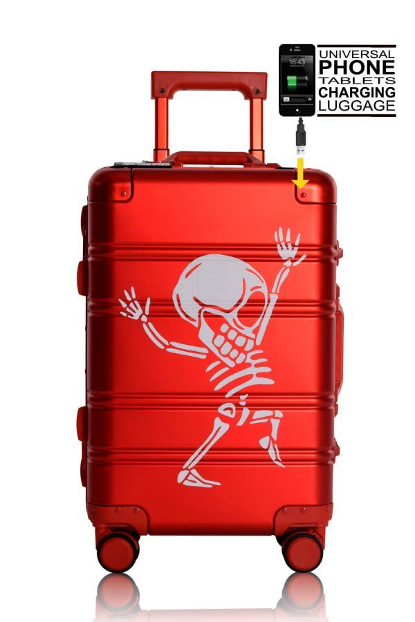 Aluminum Suitcase Trolley Cabin Luggage Red Skull front Powerbank
