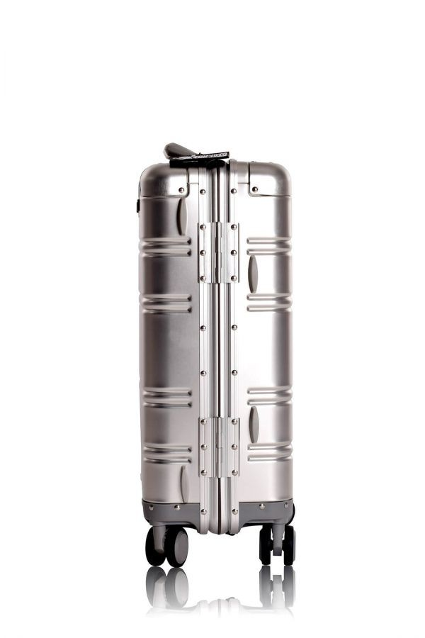 Aluminum Suitcase Trolley Cabin Luggage Silver Skull Back 3