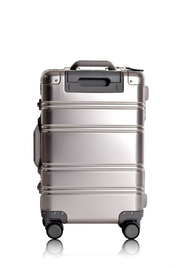 Aluminum Suitcase Trolley Cabin Luggage Silver Skull Back