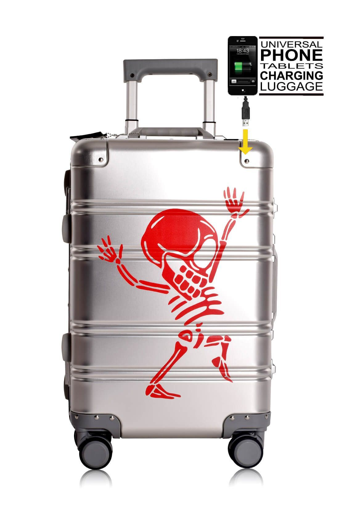 Aluminum Suitcase Trolley Cabin Luggage Silver Skull Powerbank