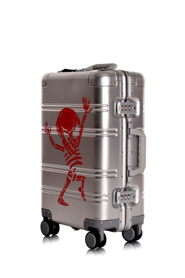 Aluminum Suitcase Trolley Cabin Luggage Silver Skull Side 4