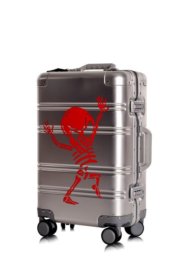 Aluminum Suitcase Trolley Cabin Luggage Silver Skull Side 5