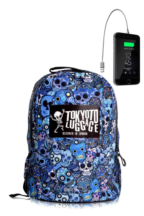 Backpack Urban Led Light with Powerbank BLUE SKULLS