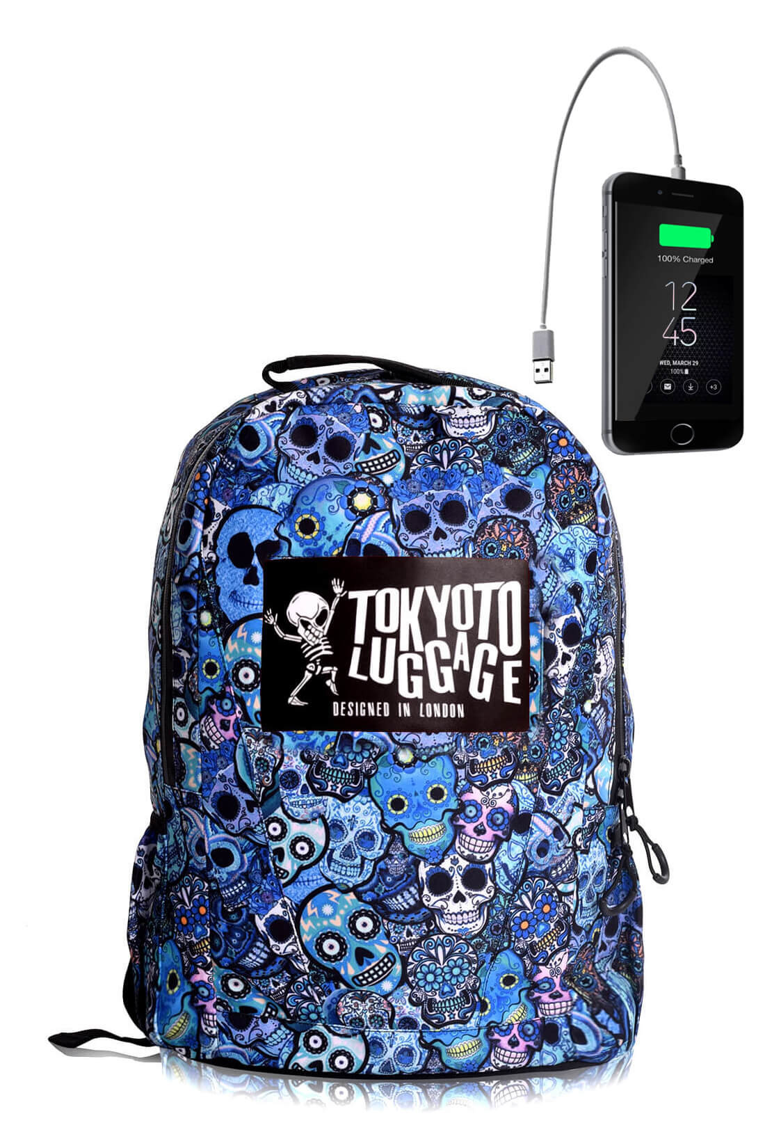 Backpack Urban Led Light with Powerbank BLUE SKULLS