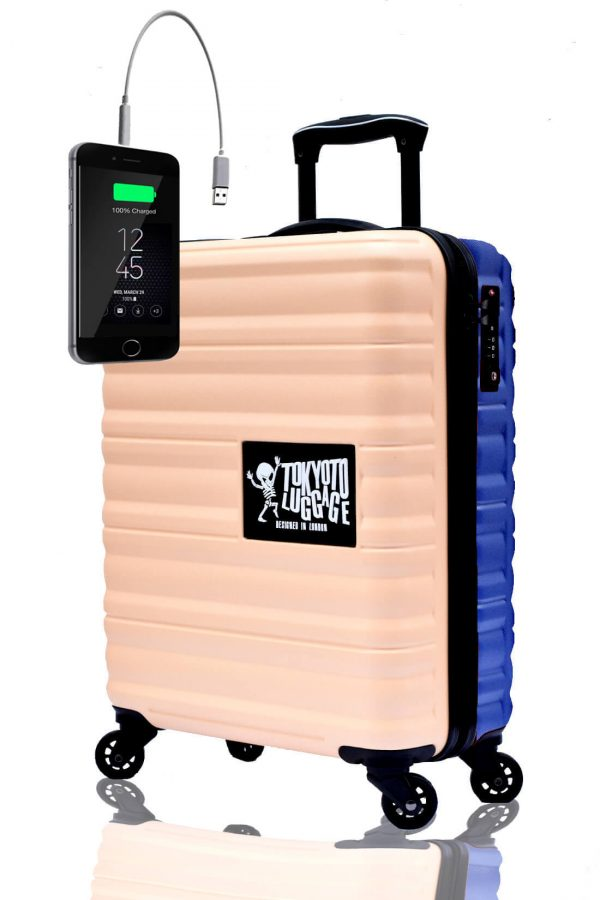 Children Cabin Hand Luggage Carry On Trolley Suitcase BEIGE BLUE
