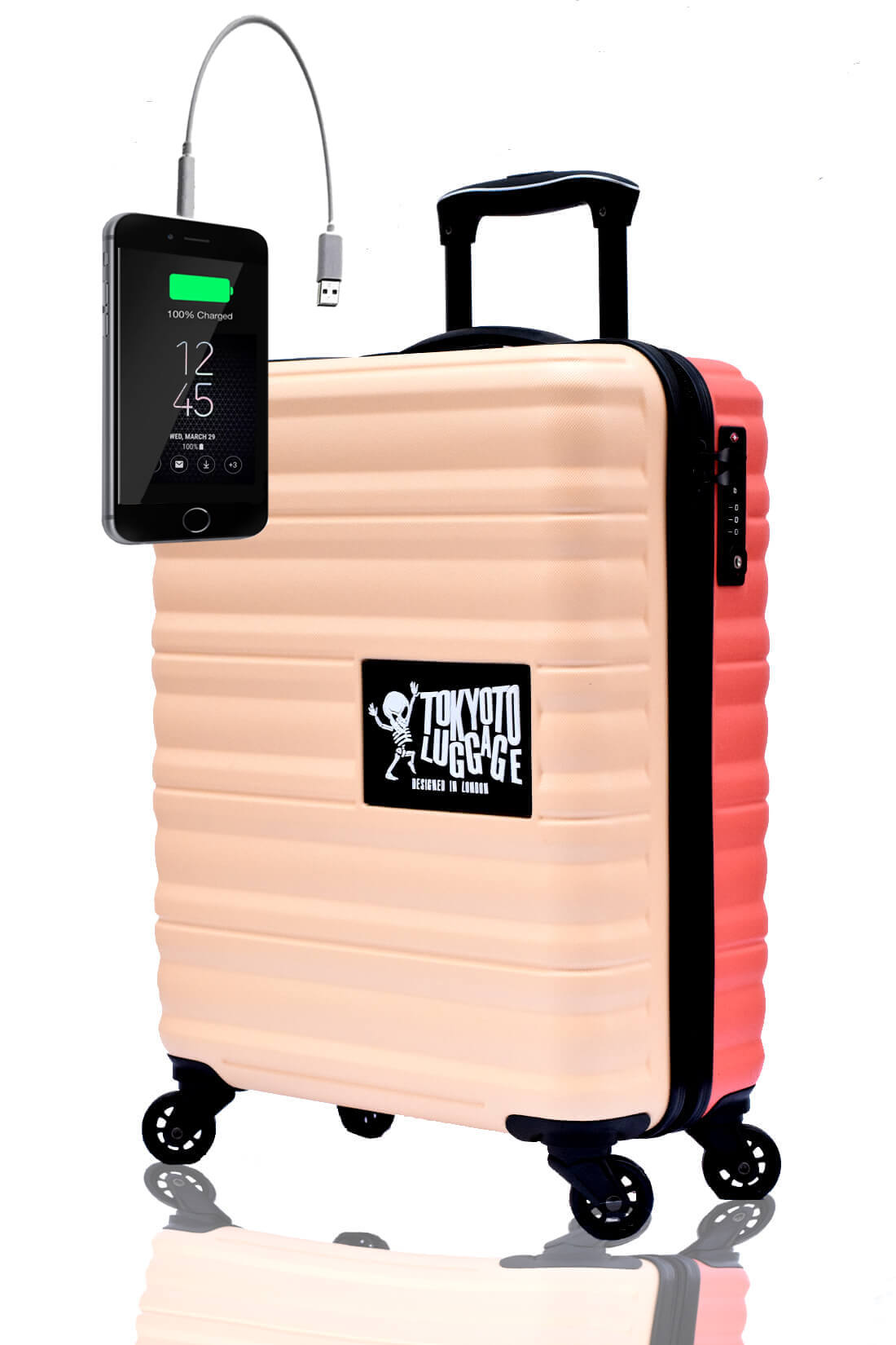 Children Cabin Hand Luggage Carry On Trolley Suitcase BEIGE CORAL