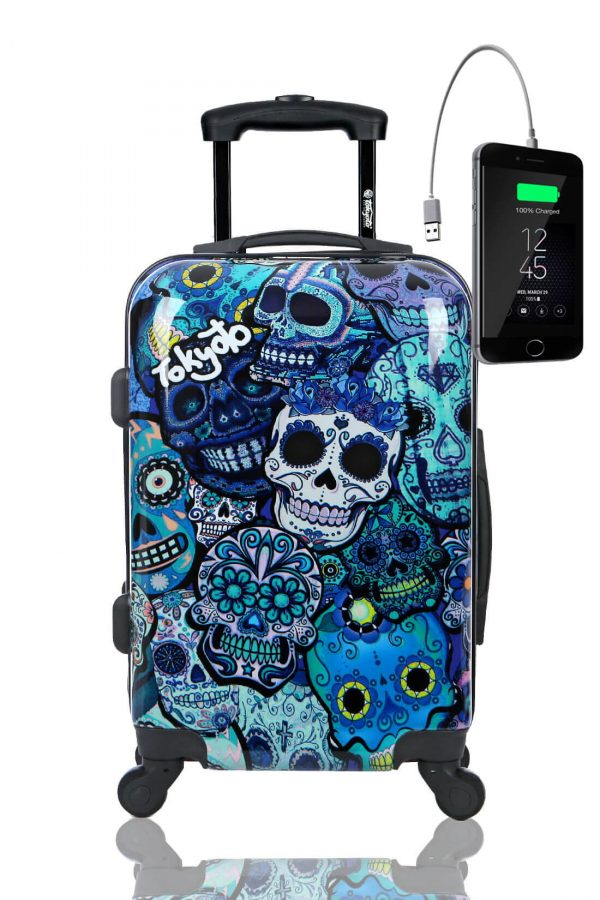 Childrens Kids Cabin Hand Luggage Carry On Trolley Suitcase BLUE SKULLS