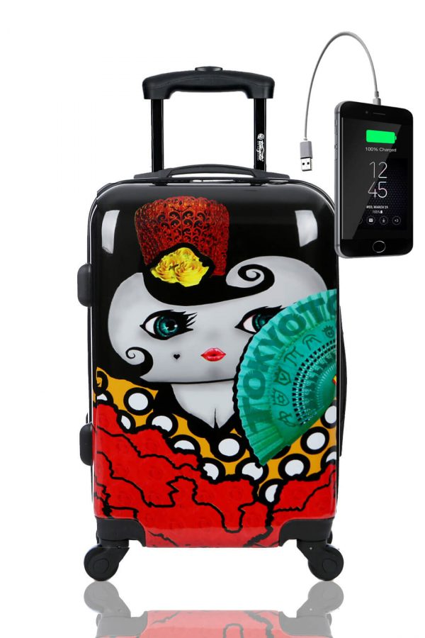Childrens Kids Cabin Hand Luggage Carry On Trolley Suitcase FLAMENCA