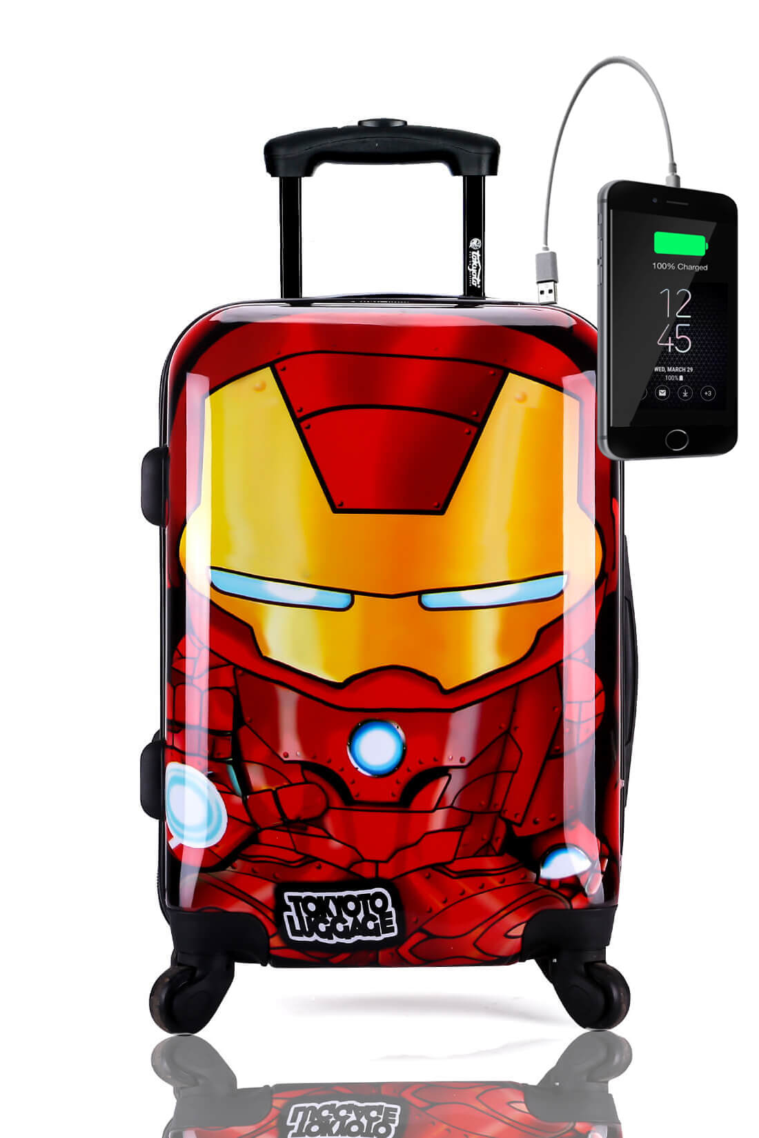 Childrens Kids Cabin Hand Luggage Carry On Trolley Suitcase IRON BOY