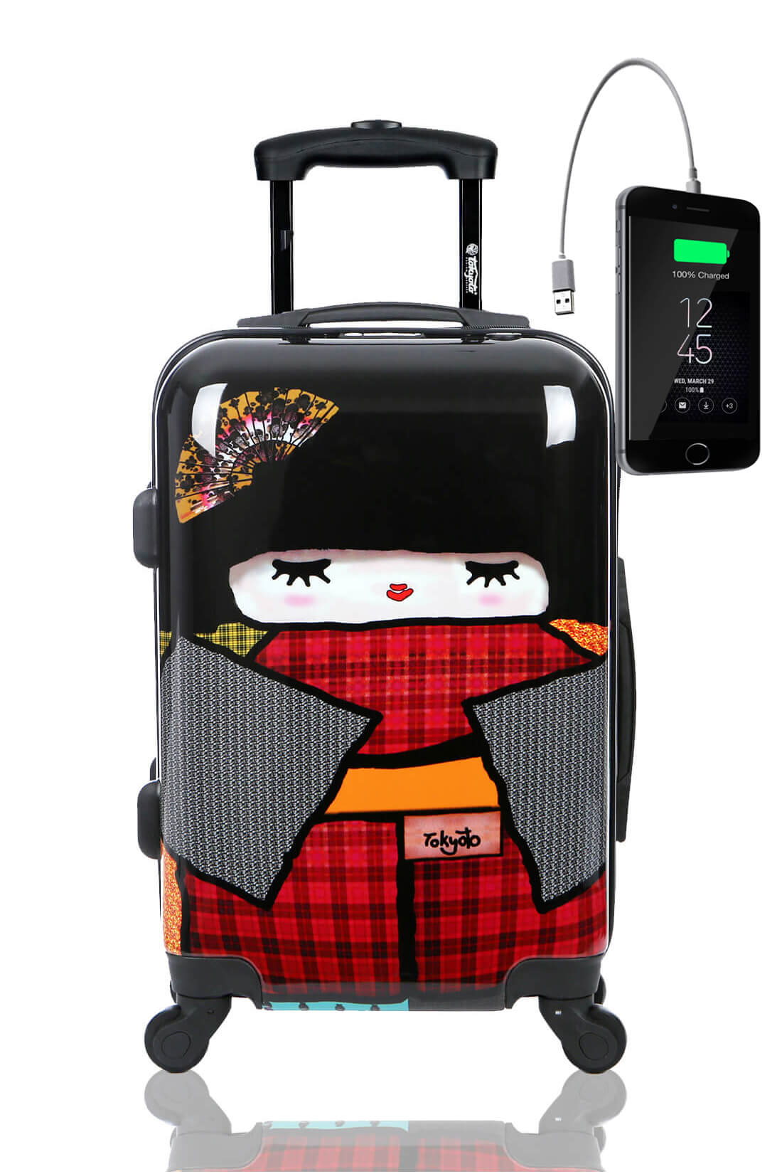 Childrens Kids Cabin Hand Luggage Carry On Trolley Suitcase JAPAN DOLL