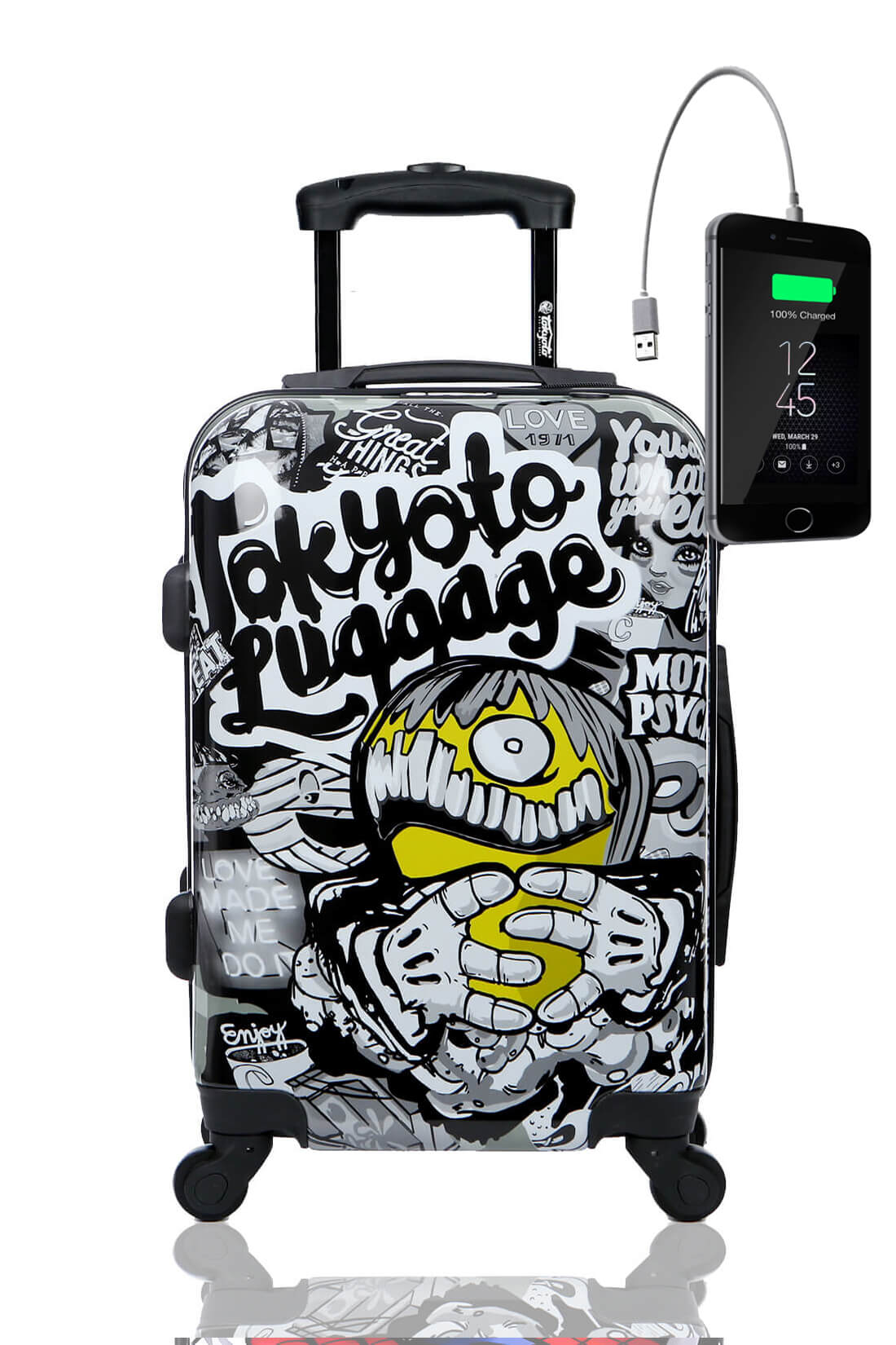 Childrens Kids Cabin Hand Luggage Carry On Trolley Suitcase MAD COOL