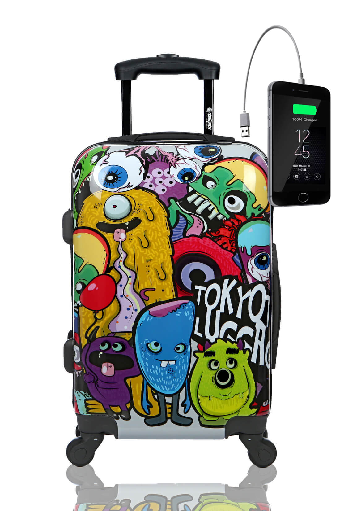 Childrens Kids Cabin Hand Luggage Carry On Trolley Suitcase MONSTERS ZOMBIES