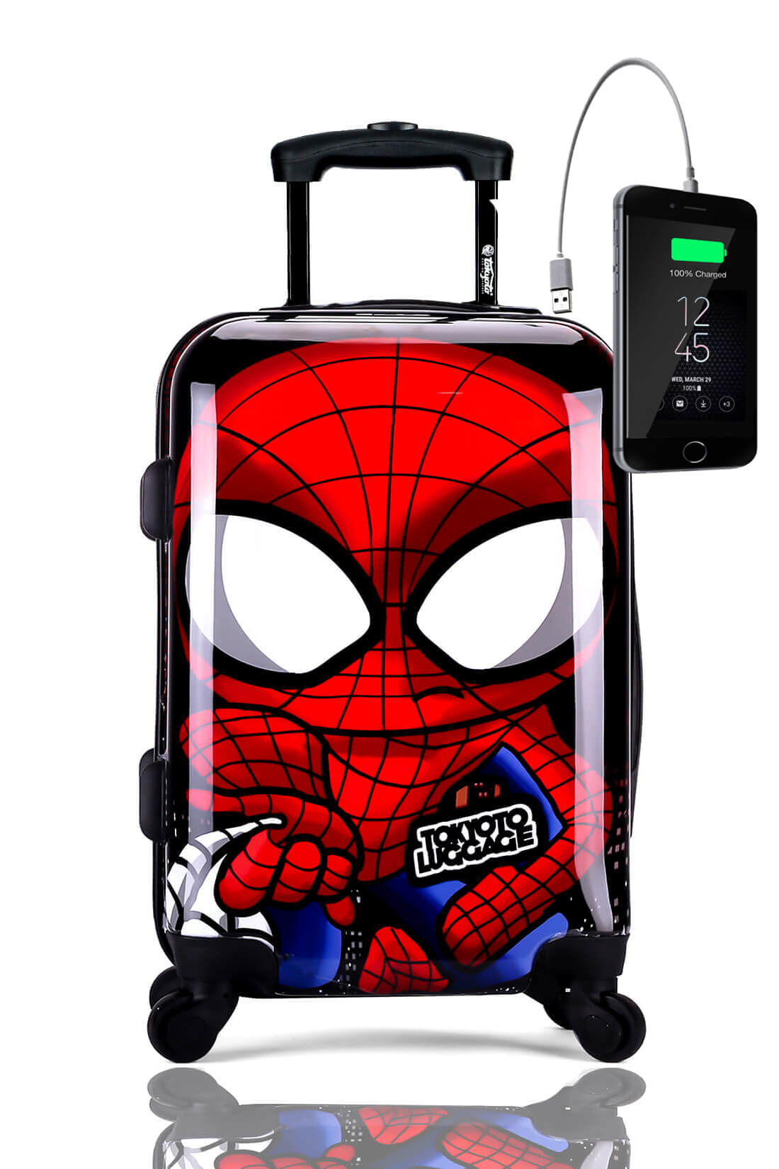 Childrens Kids Cabin Hand Luggage Carry On Trolley Suitcase SPIDER BOY