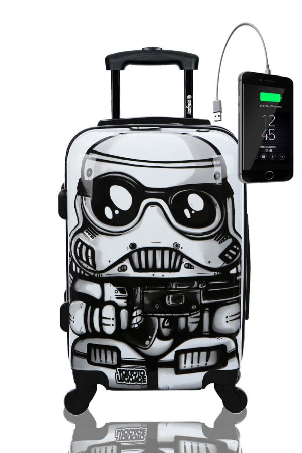 Childrens Kids Cabin Hand Luggage Carry On Trolley Suitcase WHITE SOLDIER